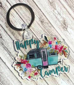 Happy Camper Keychain, Camping, RV, Key Ring, 2.5 inches, Camper Key Ring, Camper, Retro Camper, Camper Gift, Floral Camper, Gift for Mom