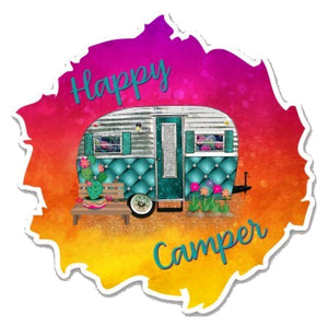Happy Camper Cactus Sticker, Laptop Sticker, Water Bottle Sticker, Retro Camper, Camping, Tumbler Sticker, RV, Travel Sticker, Camp, Outdoors