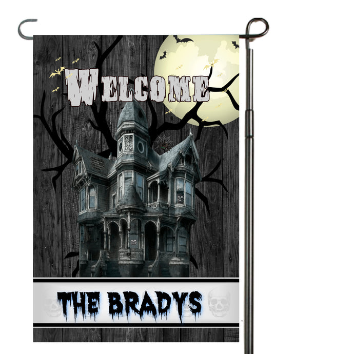 Spooky Haunted House Garden Flag, Personalized, Halloween Garden Flag, Autumn Garden Flag, Fall Decor, Fall Yard Decor, Halloween Decoration