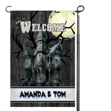 Load image into Gallery viewer, Spooky Haunted House Garden Flag, Personalized, Halloween Garden Flag, Autumn Garden Flag, Fall Decor, Fall Yard Decor, Halloween Decoration