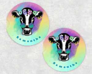 Hippie Cow Personalized Car Coasters, Cow Coaster, Cow, Cows, Boho Gift, Name Coasters, Personalized Coaster, Sandstone Coasters, Set of 2