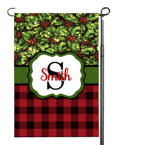 Holly Plaid Garden Flag, Personalized Garden Flag, Christmas Garden Flag, Monogram Name, Family Gift, Custom Garden Flag, Christmas Decor