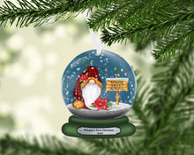 Load image into Gallery viewer, Gnome Sweet Gnome Snow Globe Christmas Ornament, Personalized, Gnomes, Name Ornament, Custom Christmas Holiday, Gift for Mom, Family Gift