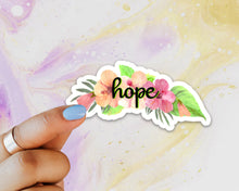 Load image into Gallery viewer, Hope Sticker, Laptop Sticker, Water Bottle Sticker, Hope Floral Sticker, Hibiscus Sticker, Tumbler Sticker, Flowers, Floral Sticker