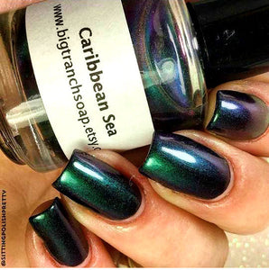 Free U.S. Shipping - Multichrome (Caribbean Sea) Multi-Color Shifting Polish: Custom-Blended Glitter Nail Polish / Indie Lacquer