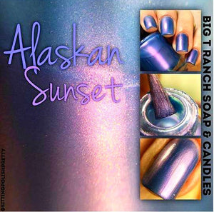 "Nail Polish - Multichrome - Blue/Purple/Red Color Shifting - Free U.S. Shipping - ""Alaskan Sunset"" - Hand Blended - 0.5 oz Full Sized Bottle"