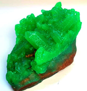 Emerald Green Geode Crystal Gemstone Rock Soap - FREE U.S. SHIPPING - Anniversary Gift - Green Tea and Cucumber or Almond Scented