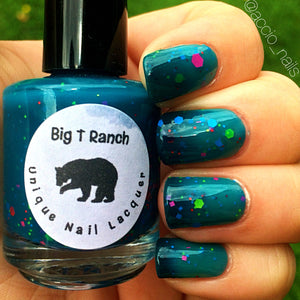 Color Changing Glitter Nail Polish - Mood Nail Polish - Peacock Feathers - FREE U.S. SHIPPING - Teal - Custom Blended Nail Polish/Lacquer