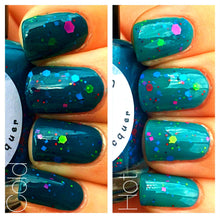Load image into Gallery viewer, Color Changing Glitter Nail Polish - Mood Nail Polish - Peacock Feathers - FREE U.S. SHIPPING - Teal - Custom Blended Nail Polish/Lacquer