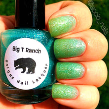 "Load image into Gallery viewer, Ombre Color Changing Thermal Nail Polish -""Monsoon""-Teal/Seafoam Green Glittery-Temperature Changing - FREE U.S. SHIPPING"