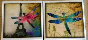 Dragonflies in Paris Coaster Set - Coasters - Free U.S. Shipping - Dragonflies - Dragonfly - Ceramic Tile - Couples Gift - Set of 4