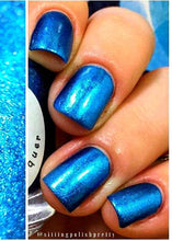 "Load image into Gallery viewer, Blue Metallic Aluminum Nail Polish - ""GALAXY"" - FREE U.S. SHIPPING - Hand Blended - 0.5 oz/15ml Full Sized Bottle"