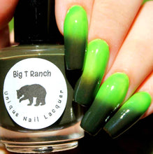 "Load image into Gallery viewer, Color Changing AND Glow in the Dark Nail Polish - FREE U.S. SHIPPING - Green to Black and Glows Aqua - ""Zombie"" - Thermal - Full Size Bottle"