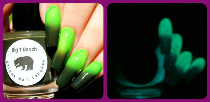 Color Changing AND Glow in the Dark Nail Polish - FREE U.S. SHIPPING - Green to Black and Glows Aqua -
