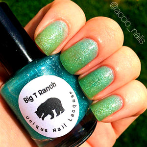 "Ombre Color Changing Thermal Nail Polish -""Monsoon""-Teal/Seafoam Green Glittery-Temperature Changing - FREE U.S. SHIPPING"