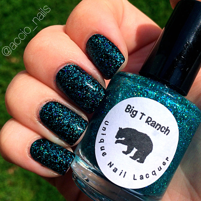 Holographic Nail Polish - Teal Micro Glitter Top Coat - Free U.S. Shipping -