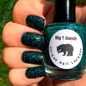"Holographic Nail Polish - Teal Micro Glitter Top Coat - Free U.S. Shipping - ""Northern Lights"" - Hand Blended - 0.5 oz Full Sized Bottle"