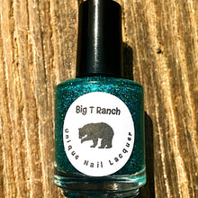 "Load image into Gallery viewer, Holographic Nail Polish - Teal Micro Glitter Top Coat - Free U.S. Shipping - ""Northern Lights"" - Hand Blended - 0.5 oz Full Sized Bottle"