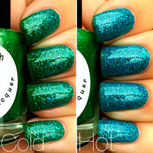 Load image into Gallery viewer, Mermaid Blue to Green Color Changing and Glow in the Dark Nail Polish - FREE U.S. SHIPPING - Glows Green - Mood Nail Polish
