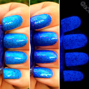 Fairy Dust Blue to Purple Color Changing AND Glow in the Dark Nail Polish - Glows Blue - Mood Nail Polish - FREE U.S. SHIPPING