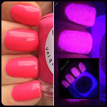 Load image into Gallery viewer, Glow-in-the-Dark Nail Polish - Pink Glows Purple - FREE U.S. SHIPPING - Shooting Star - Regular Full Sized Bottle (15 ml size)