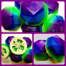 Load image into Gallery viewer, Mermaid Soap - Loofah Soap - Loofa - Mandarin Plum Scented - Under the Sea Favors - FREE U.S. SHIPPING - Purple, Green, Blue Soap