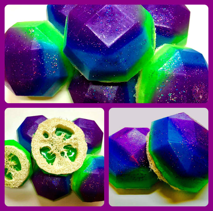 Mermaid Soap - Loofah Soap - Loofa - Mandarin Plum Scented - Under the Sea Favors - FREE U.S. SHIPPING - Purple, Green, Blue Soap