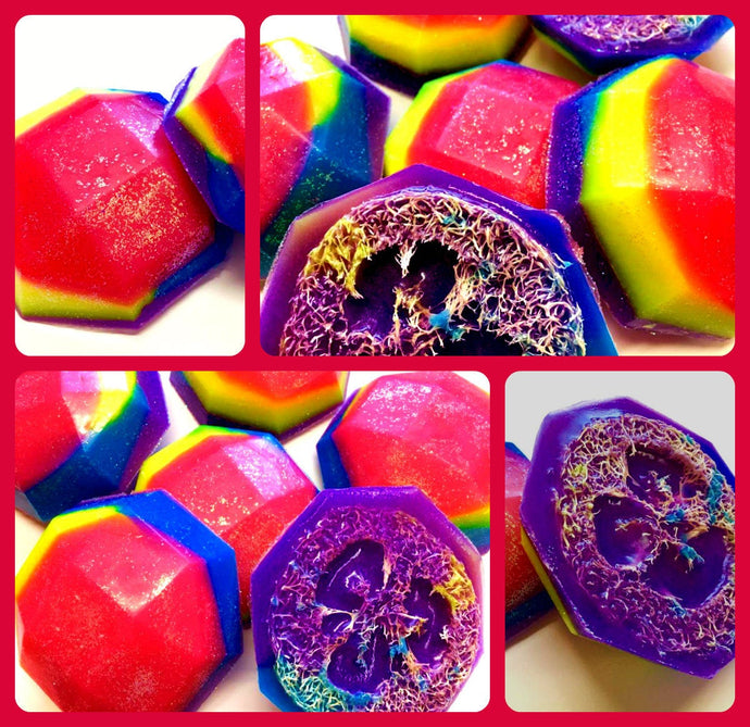 Unicorn Soap - Loofah Soap - Pomegranate Scented - FREE U.S. SHIPPING - Unicorn Party - Fantasy - Exfoliator - Pink, Purple, Yellow, Blue
