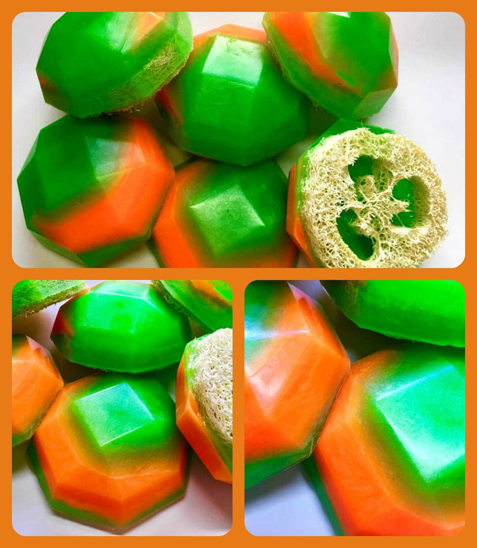 Cucumber Melon Soap - Loofah Soap - Loofa - Green and Melon Orange - FREE U.S. SHIPPING - Exfoliator - Gift for Mom - Spa - Woman Gift