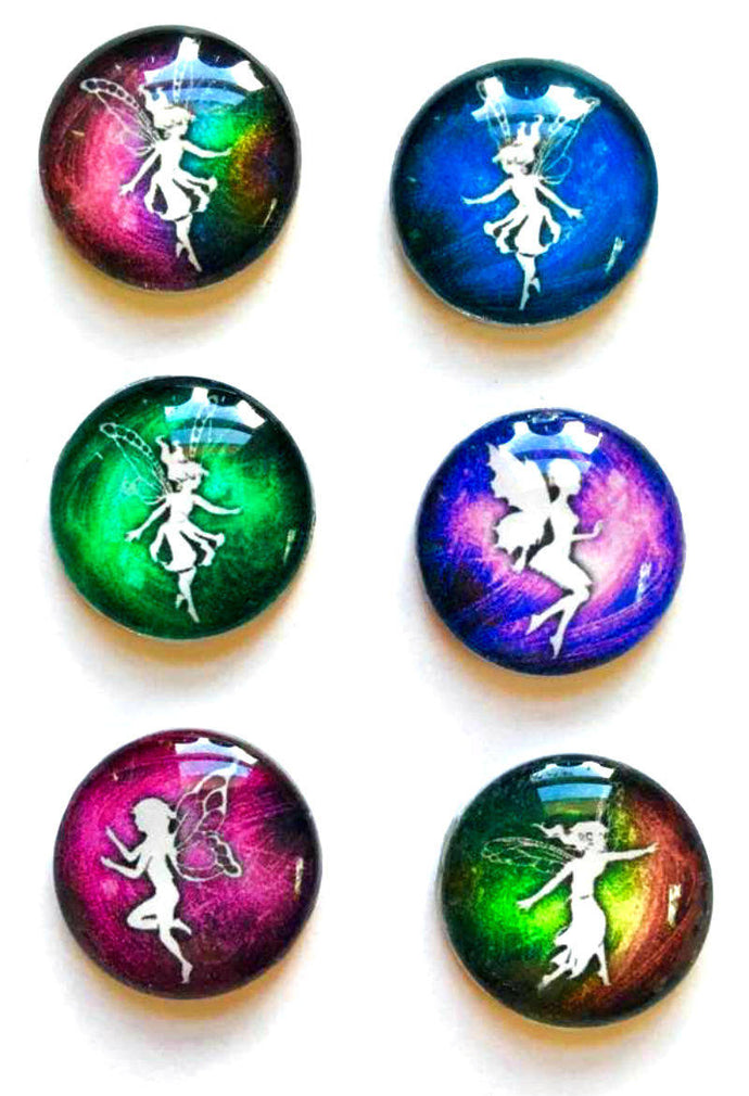 Fairy Magnets - Fairie Magnet - Fairy Party Favor - Fairy Wedding - Free U.S. Shipping - Set of 6 - 1 Inch Domed Glass Circles