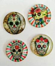 Load image into Gallery viewer, Magnets - Sugar Skulls - Day of the Dead - Skull - Skeletons - Set of 4 - Free U.S. Shipping - 1 Inch Domed Glass Circles