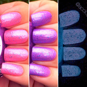 Unicorn Pink to Purple Color Changing AND Glow in the Dark Nail Polish - FREE U.S. SHIPPING - Glows Purple - Mood Nail Polish