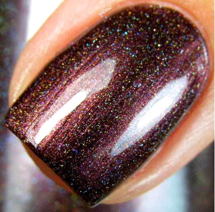 Burgundy Red Linear Holographic Nail Polish - Free U.S. Shipping -