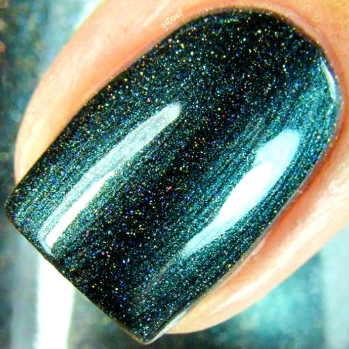 Forest Green Linear Holographic Nail Polish - Free U.S. Shipping -