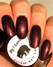 "Load image into Gallery viewer, Burgundy Red Linear Holographic Nail Polish - Free U.S. Shipping - ""Fire"" - Gift for Mom, Sister, Daughter - 0.5 oz Full Sized Bottle"