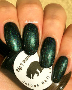 "Forest Green Linear Holographic Nail Polish - Free U.S. Shipping - ""Energy"" - Gift for Mom, Sister, Daughter - 0.5 oz Full Sized Bottle"
