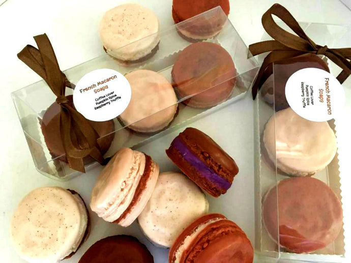 French Macaron Soap Gift Set of 3 - Coffee Lover, Pumpkin Spice, Raspberry Truffle - Cake Soap - Gift for Her - Grandmother - Friend Gift