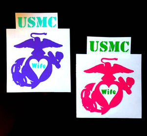 USMC Wife Decal - Marine Mom Decal - Military - Military Spouse Yeti Cup Decal - Car Decal - Water Bottle Decal - Tumbler Sticker