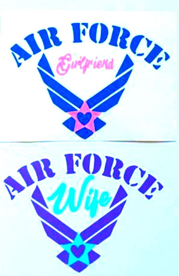 Air Force Wife Decal - Air Force Mom Decal - Military - Military Spouse Yeti Cup Decal - Car Decal - Water Bottle Decal - Tumbler Sticker