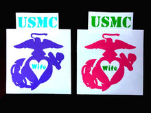 Load image into Gallery viewer, USMC Wife Decal - Marine Mom Decal - Military - Military Spouse Yeti Cup Decal - Car Decal - Water Bottle Decal - Tumbler Sticker