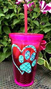 Paw Print Heart Decal on Double Wall Plastic Tumbler with Lid and Straw - Dog, Cat - Vet Gift - You Choose Color - Dog Cat Lover - 16 oz