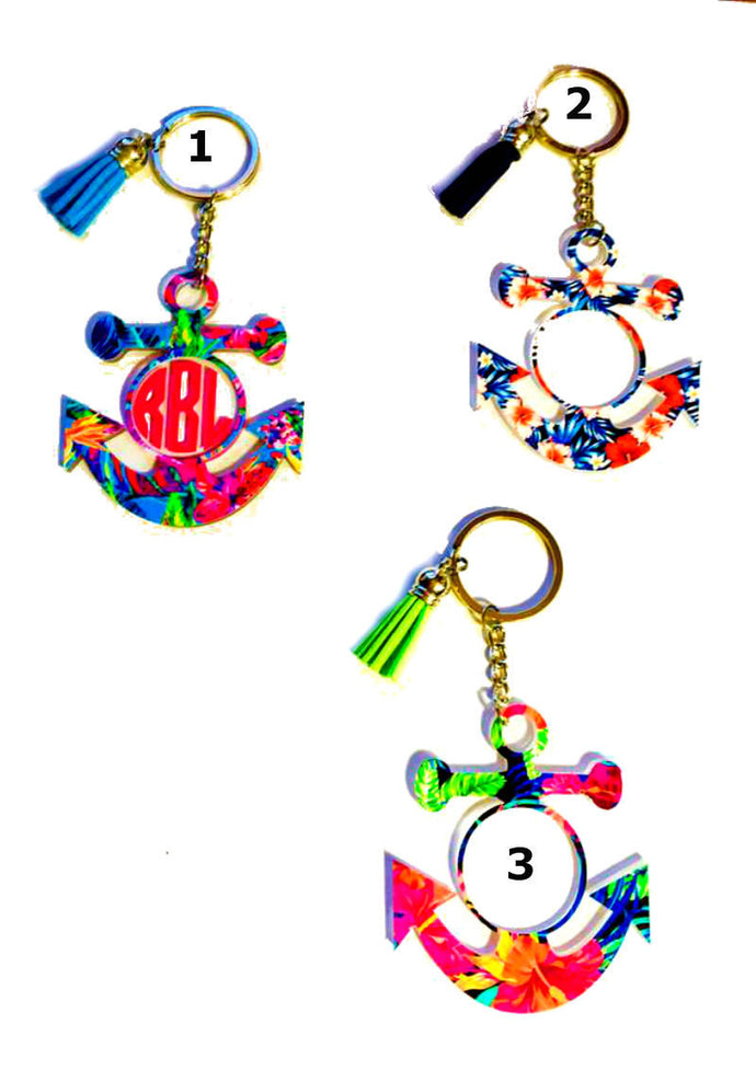 Anchor Personalized Monogram Keychain Key Ring Acrylic Vinyl - Navy Wife, Navy Girlfriend, Navy Mom - 3