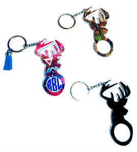 "Deer Buck Personalized Monogram Keychain Key Ring Acrylic Vinyl - Hunting - Gift for Hunter - Dad Gift - 4"" - Choose Pattern, Monogram/Color"