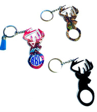 "Load image into Gallery viewer, Deer Buck Personalized Monogram Keychain Key Ring Acrylic Vinyl - Hunting - Gift for Hunter - Dad Gift - 4"" - Choose Pattern, Monogram/Color"