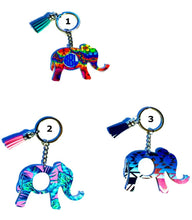 "Load image into Gallery viewer, Elephant Personalized Monogram Keychain Key Ring Acrylic Vinyl- Gift for Mom - 3"" - White Elephant Gift - Choose Pattern, Monogram/Color"