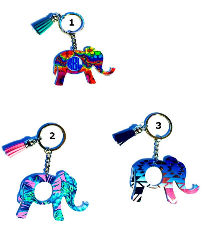 Elephant Personalized Monogram Keychain Key Ring Acrylic Vinyl- Gift for Mom - 3