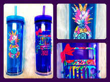 Load image into Gallery viewer, Acrylic Tumbler with Lid, Straw and Decal of Your Choice - You Choose Color - 16 oz, Double Wall - Monogrammed Cup, Cup with Lid, Tumbler