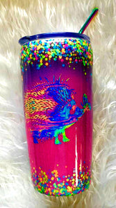 Hedgehog Thermal Glittered Color Changing Thermal Tumbler with Lid and Straw - Purple/Pink/Blue - Holographic Glitter - Insulated - 20 oz