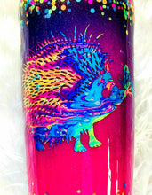 Load image into Gallery viewer, Hedgehog Thermal Glittered Color Changing Thermal Tumbler with Lid and Straw - Purple/Pink/Blue - Holographic Glitter - Insulated - 20 oz