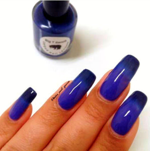 "Color Changing Thermal Nail Polish - Ombre Pink to Violet to Dark Blue - Glows Blue - ""Rocky Mountains""- Gift for Her - Girlfriend Gift"